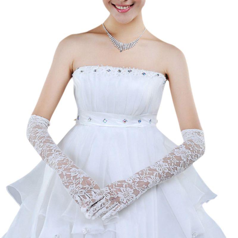 1 Paar Braut Frauen Weiß Hochzeit Lange Handschuhe Ellenbogen Länge Gefingert Volle Floral Spitze Sehen Durch Fäustlinge Formale Party Zubehör
