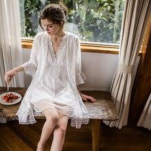 fcb8be261364d QWEEK dentelle Robes blanches ensemble chemises de nuit chemises de nuit  Robes de demoiselle d'honneur ensemble Peignoir ensembl.