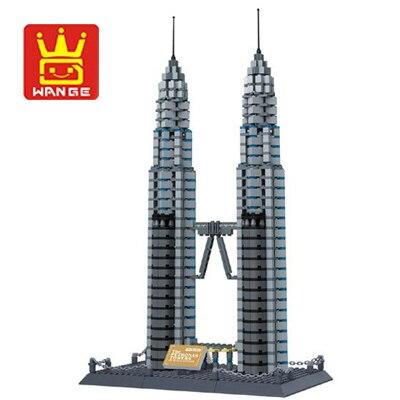 Wange 8011 New Famous Architecture series The Kuala Lampur Petronas Tower 3D Model Building Blocks Classic
