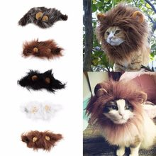1 pc Lovely Pet Costume Lions Mane Winter Warm Wig Cat Halloween Christmas Party Dress Up With Ear Pet Apparel Cat Fancy Dress(China)