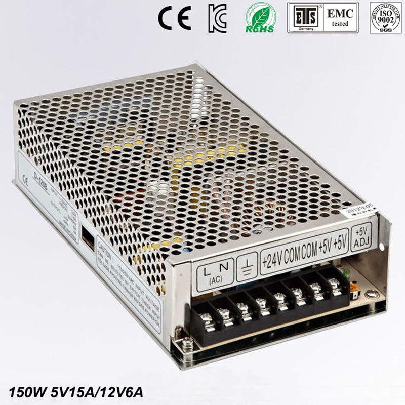 Best quality double sortie5V 12V 150W Switching Power Supply Driver for LED Strip AC 100-240V Input to DC 5V 12V free shipping 36pcs best quality 12v 30a 360w switching power supply driver for led strip ac 100 240v input to dc 12v30a