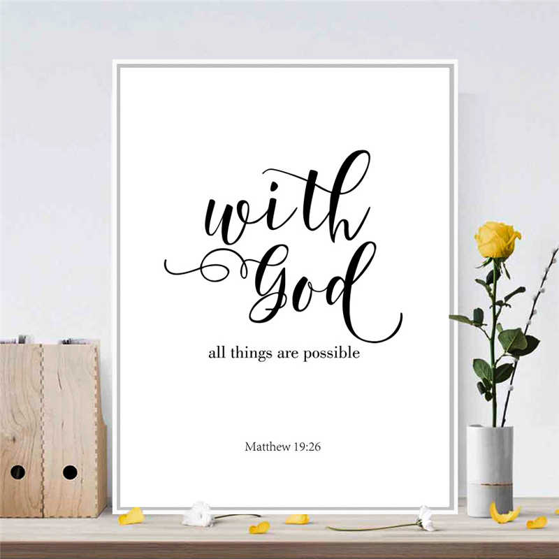 Canvas Painting Quote With God Nordic Mural Art Drawing Poster No Frame  Minimalism Typography Prints Pretty Ornament for Bedroom