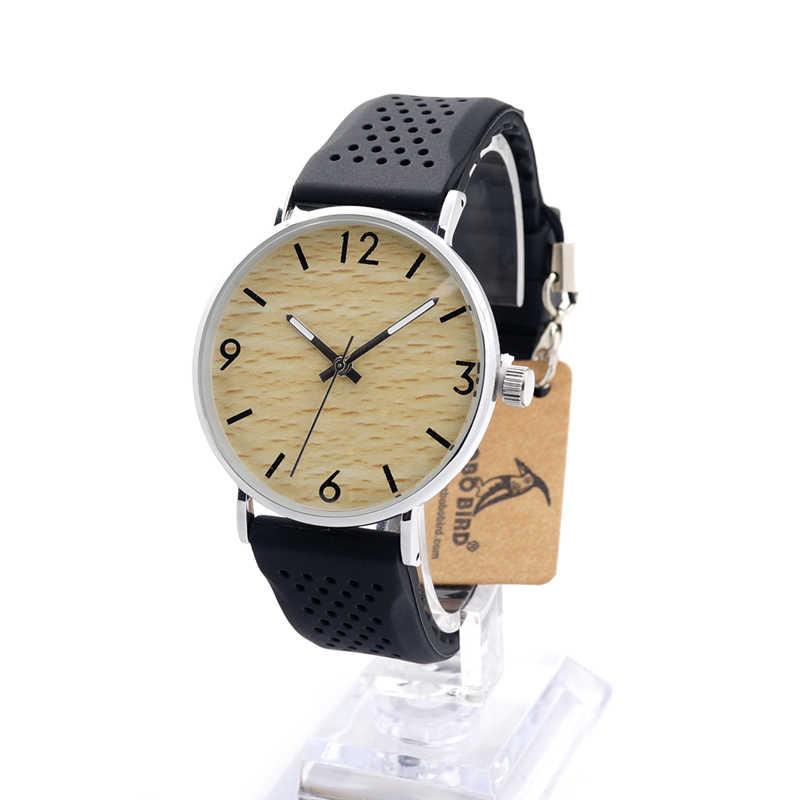 BOBO BIRD Wood Watch Luminous Hands Black Silicone Band Wristwatches relogio feminino B-B26