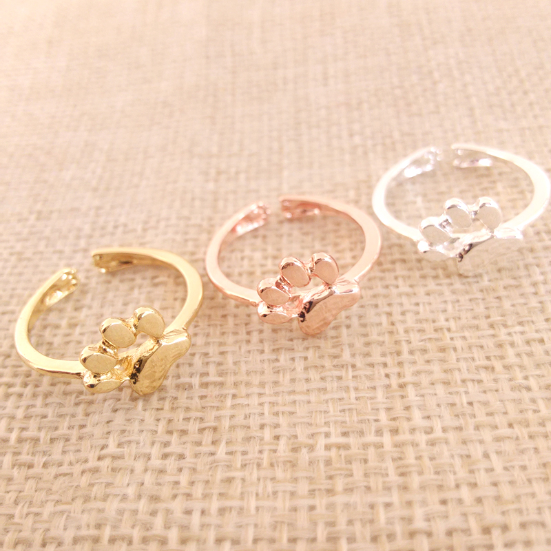 Wholesale 30 pcs/Lot New Dog cat paw print Ring Adjustable Size Suit for All Cute Women Festival Gift