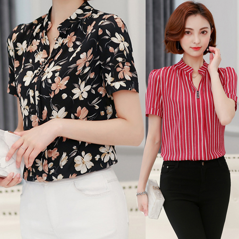 Women Floral Blouse S-3XL Plus Size Summer Elegant Casual Short Sleeve Office Flower Shirt Female V-neck Formal Work Top