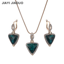 jiayijiaduo Wedding Women Jewelry Gold-Color Necklace Earrings Sets Rhinestone Pendant For Party Green Costume Accessories(China)