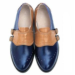 "Image 2 - פרה עור גדול אישה ארה""ב גודל 9 מעצב בציר שטוח נעלי בוהן עגול בעבודת יד שחור לבן אוקספורד נעליים לנשים 2020 אביב"