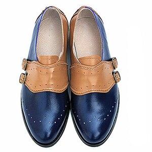 Image 2 - In pelle di mucca grande donna formato DEGLI STATI UNITI 9 del progettista dellannata scarpe basse punta rotonda handmade nero bianco oxford scarpe per le donne 2020 primavera