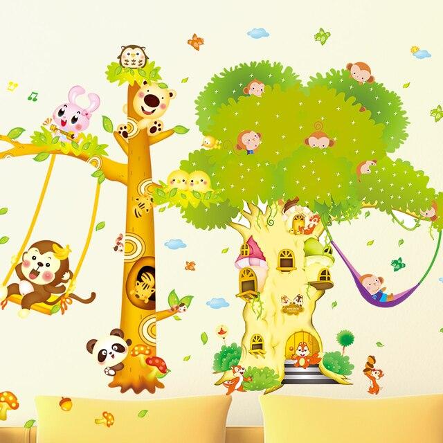 [SHIJUEHEZI] Monkeys Trees Wall Stickers PVC Material DIY Animals Wall Art for Kids Room Kindergarten Bedroom Decoration