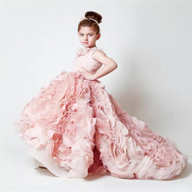 Flower     Girl     Dresses     Girls   Pageant   Dresses   First Communion   Dresses   for   Girls   Sleeveless Pink Ruffles RTT-0498