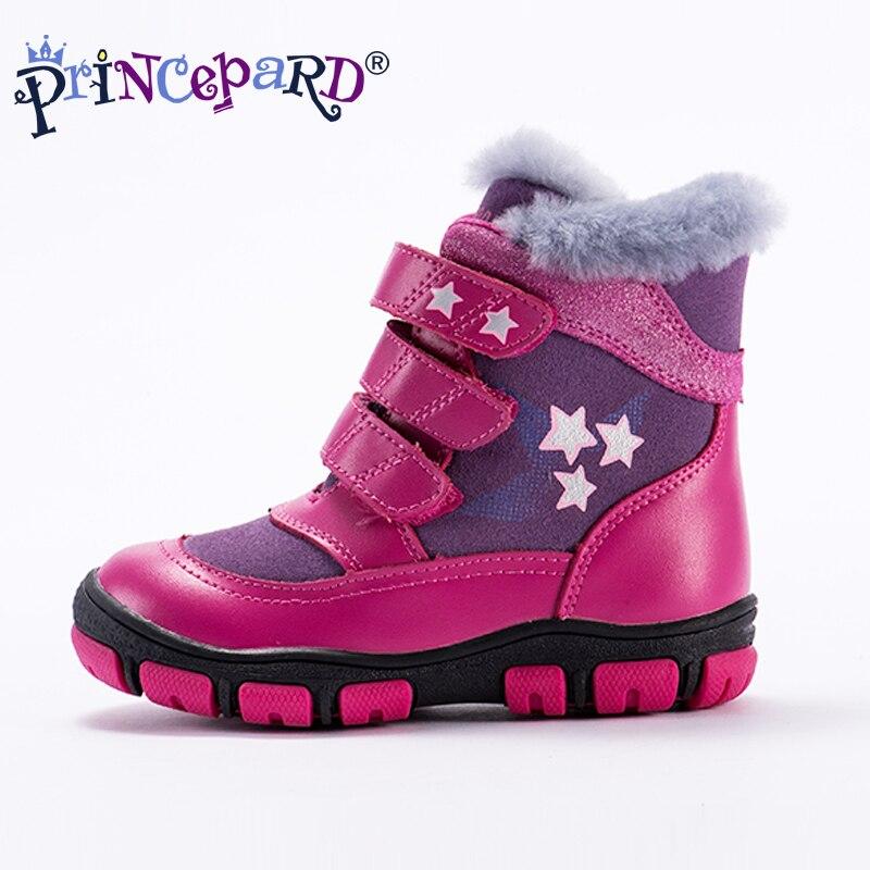 Princeprd 2018 nouvelles chaussures orthopédiques pour enfants d'hiver pour filles garçons en cuir véritable orhopedic bottes enfants pour 100% fourrure naturelle