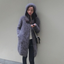 Women's long plush mink cashmere sweater coat female with hooded cardigan free shipping J14