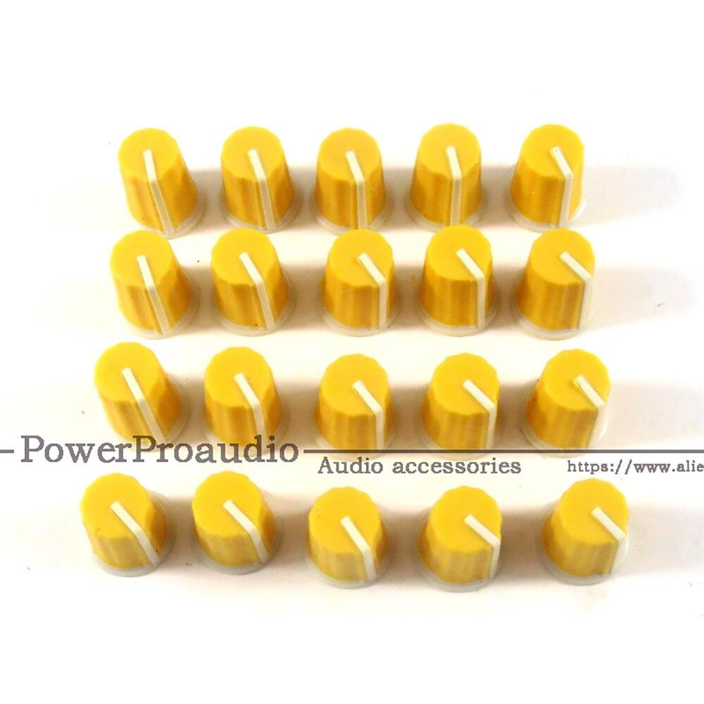 20pcs For Pioneer DJ MIXER DJM Mixer Mixing Station Knob Cap / DIY Color Rubber Potentiometer Knob Audio Volume Yellow Color