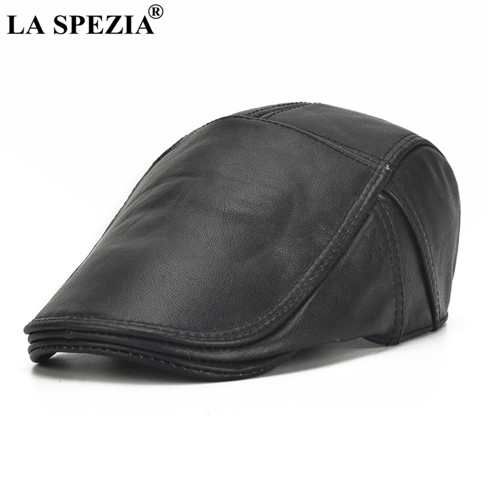 e34144c924e LA SPEZIA Winter Flat Caps Beret Men Black Warm Duckbill Hat Ivy Male  Earflaps Thicker Genuine Leather Solid Classic Driving CapUSD 27.93 piece