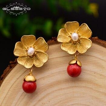 GLSEEVO 925S Silver Charm Dangle Earrings For Women Natural Fresh Water Red Chalcedony Pearl Earring Fine Luxury Jewelry GE0041