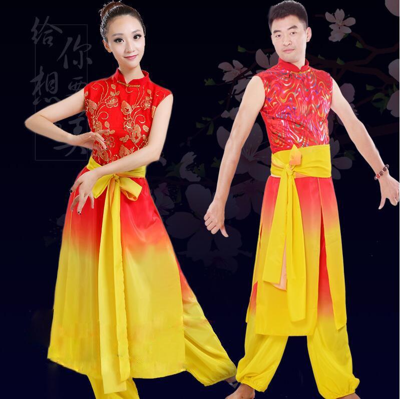 الصينية طبل ارتداء ازياء الرقص الشعبي ذكر / أنثى مروحة يانغكو الرقص الحديث ازياء مرحلة أداء الرقص الخاصة