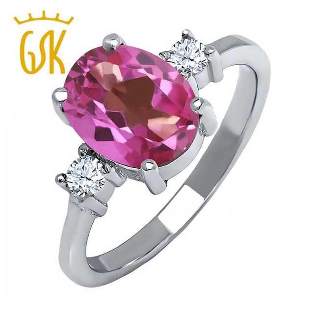 Настоящее Стерлингового Серебра 925 Ювелирные Изделия Большой Драгоценный Камень Обручальное Природный Розовый Мистик Топаз Белый Топаз Кольца Для Женщин GemStoneKing