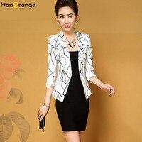 HanOrange Print Geometric 3 Quarter Sleeve Single Button Spring Autumn 2018 Women Blazer Jacket White/Black