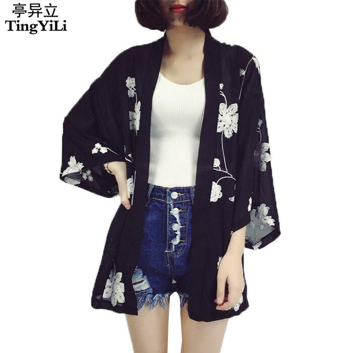 Ethnic Style Kimono Cardigan Vintage Flower Chiffon Summer Cardigan Black White Cardigan Women Счастье