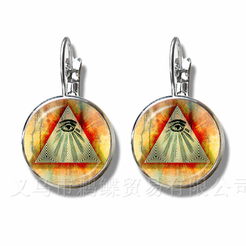 Pirâmide do egito Annuit Coeptis Olho da Providência Sinal Maçônico Brincos Geometria Sagrada Llluminati Banhado A Prata Brincos Do Parafuso Prisioneiro
