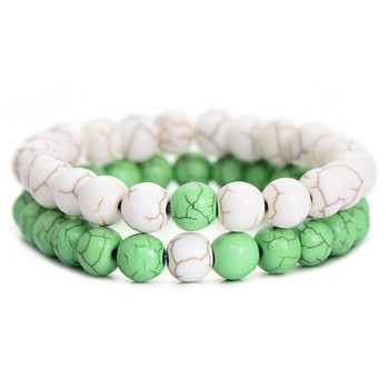Classic Natural Stone Yin Yang Beaded Bracelets, 2Pcs/Set Bracelets Jewelry New Arrivals Women Jewelry Metal Color: white green