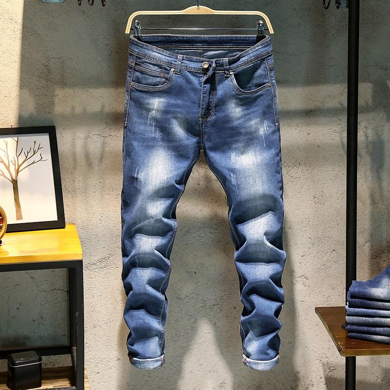 Men's Elastic Skinny Denim Jeans Pencil Pants Blue Jeans New Fashion Male Cotton Slim Full Length Casual Denim Jeans Size 38 jeans spring new women jeans slim elastic skinny straight trousers ladies fashion full length plus size denim casual pants
