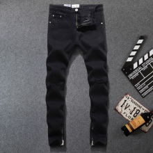 American Streetwear Fashion Men Jeans Black Color Skinny Ankle Zipper Knee Fray Hole Ripped Hip Hop homme