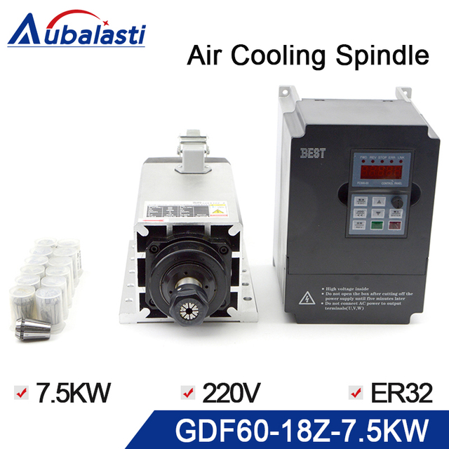 אוויר קירור CNC ציר GDZ60 18Z 7.5 7.5kw 220V 1PCS + הטוב ביותר מהפך 7.5kw 220V 1PCS + צ אק אגוז: ER32 גריז 1 סטים