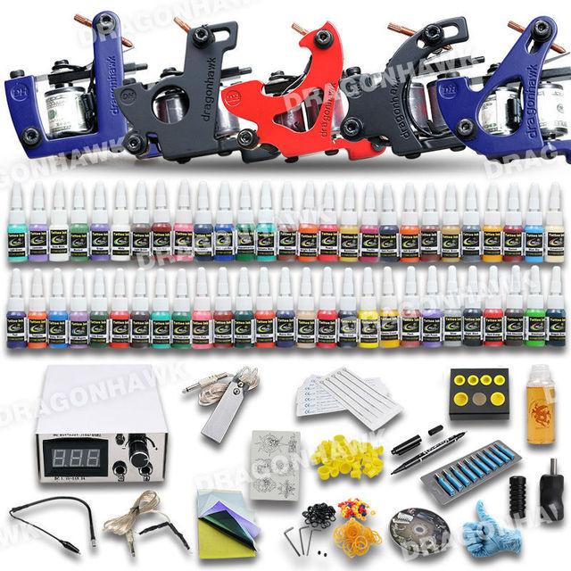 Complete Tattoo Kit 5 Machine GunsEquipment 40 Tattoo Inks Power