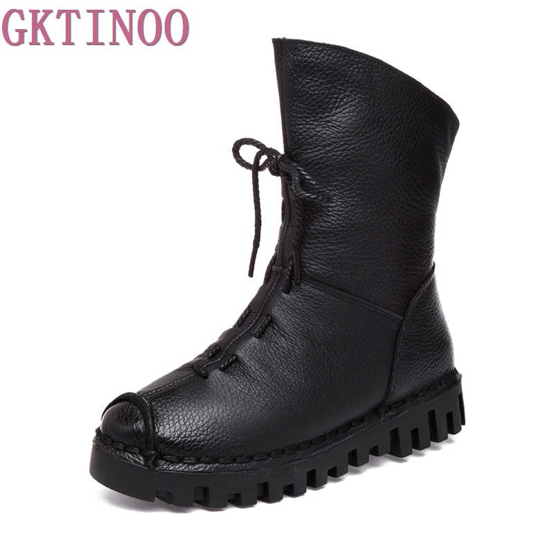 GKTINOO Genuine Leather Flat Women's Shoes Ankle Boots