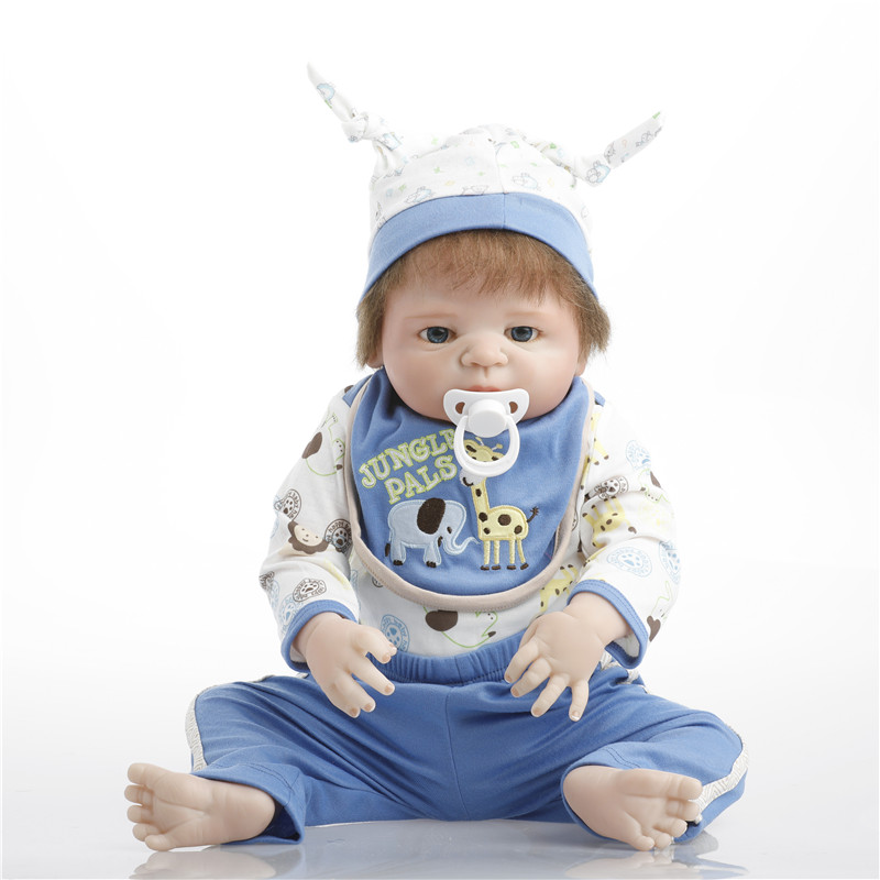 SanyDoll 22 inches 55cm silicone baby reborn dolls, Blue suit, lovely baby boy and girl birthday gift sanydoll reborn baby dolls cute suit clothes gift baby growth partners magnet pacifier 22 55cm