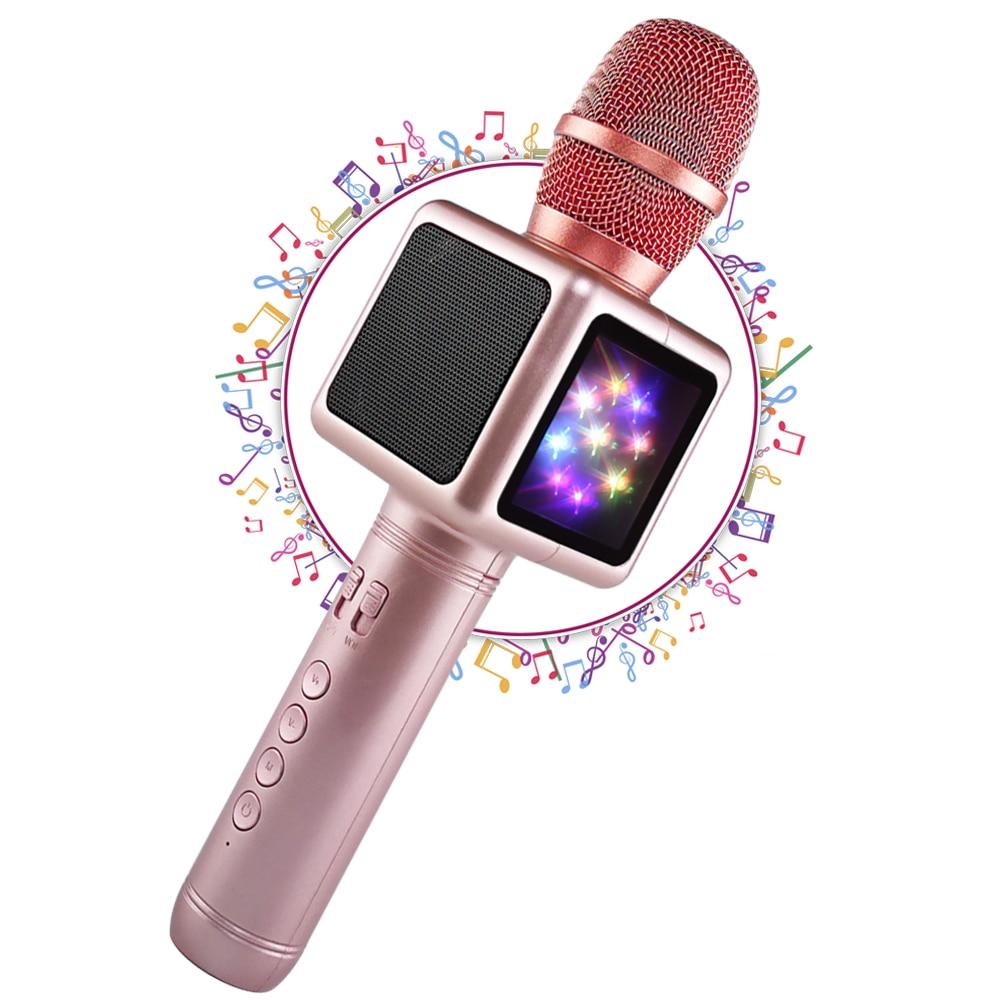 Wireless Karaoke Microphone with Disco Light Audio Studio Music Player Bluetooth Speaker Condenser KTV Singing for Smartphone qiateng bluetooth speaker v4 1 wireless karaoke player microphone with mic ktv singing record microphone for smartphone computer