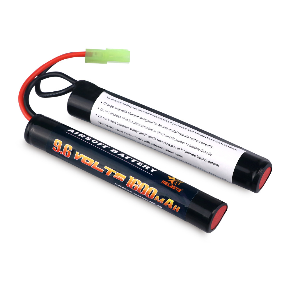 Melasta 2/3A 9.6v 1600mAh Butterfly NunChuck NIMH Battery Pack with Mini Tamiya Connector for Airsoft Guns цена