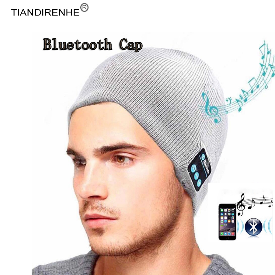 TIANDIRENHE Bluetooth Smart Cap Headset Headphone Speaker Sport Music Hat Soft Warm Beanie Hat Wireless Mic Headphone for iPhone bluetooth beanie hat and touchscreen gloves knitted bluetooth music hat built in stereo speakers winter hat for outdoor sports