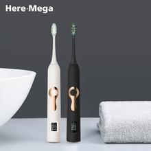 HERE-MEGA Intelligent ЖК-дисплей Sonic электрические зубные щётки Maglev индукции третий шестерни регулировки Intelligent отбеливающая зубная щетка 608