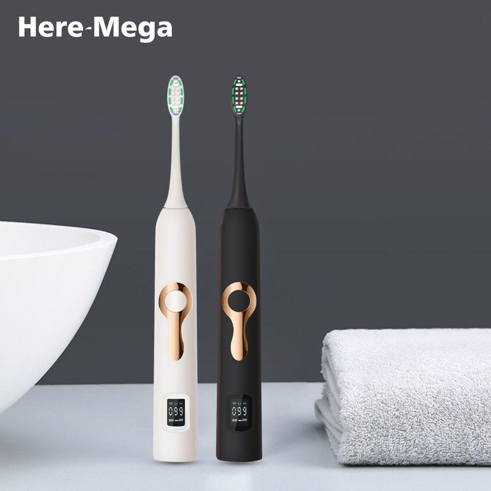 HERE-MEGA Intelligente LCD Sonic Elektrische Zahnbürste Maglev Induktion Dritten Gang Anpassung Intelligente Bleaching Zahnbürste 608