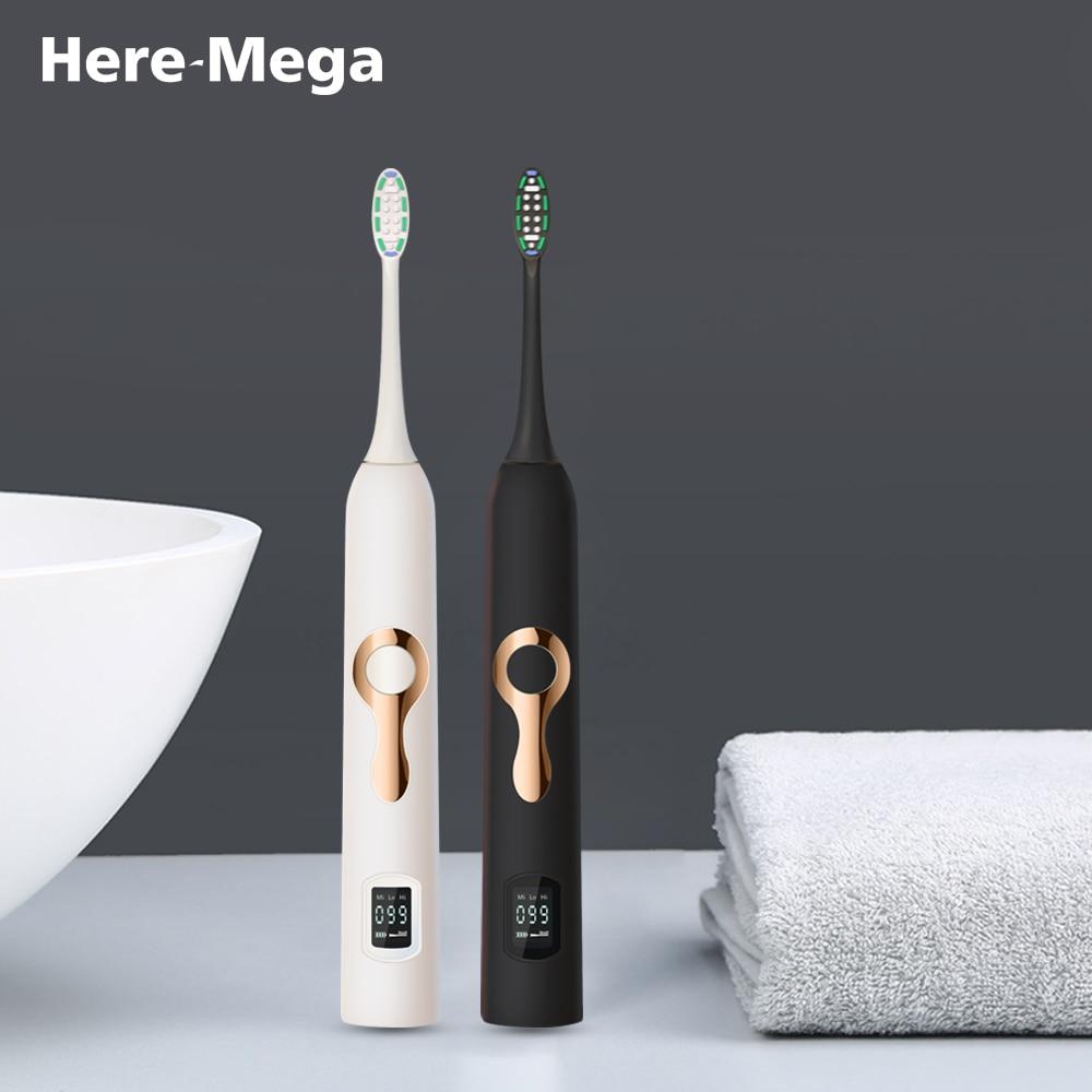HERE-MEGA LCD inteligente Sonic cepillo de dientes eléctrico Maglev inducción ajuste tercera marcha blanqueamiento inteligente cepillo de dientes 608