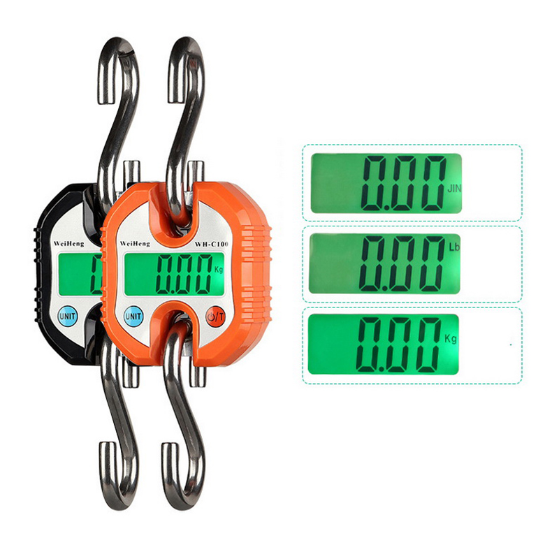 150kg/50g Portable Digital Scales Heavy Pocket Duty Electronic Hanging Hook Scale Backlight LCD Display Mini Double Hook Scale