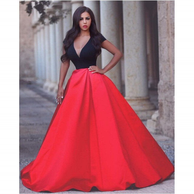 Dresses Short Black Sleeve Formal And Evening Neck Modern Red V x7w0f86H6q