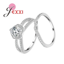 JEXXI Fine 925 Sterling Silver Bridal Ring Set for Women Nice Wedding Engagement Finger Jewelry Accessories Gifts 2PCS/Set