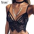 Sexy de encaje Hueco Del Chaleco 2016 nuevas mujeres sling correa cuello en v Profundo halter crochet corto Tops mujer negro/blanco sin mangas camisola
