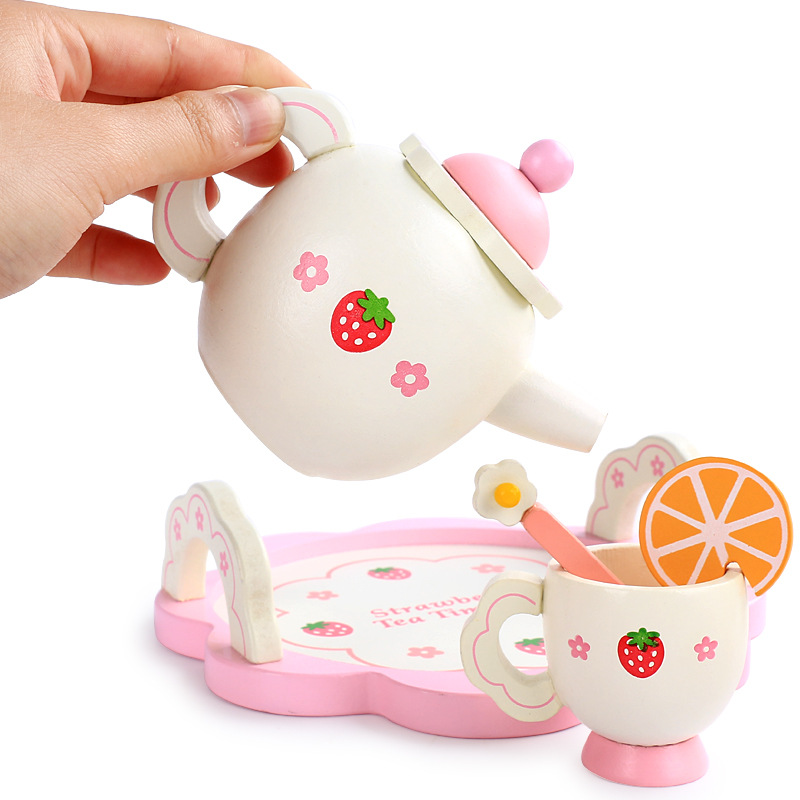 NEW Baby Toys Strawberry Simulation Tea Set Wooden Toys Cup Set Pretend Play Kitchen Toys Educational Infant Birthday Gift