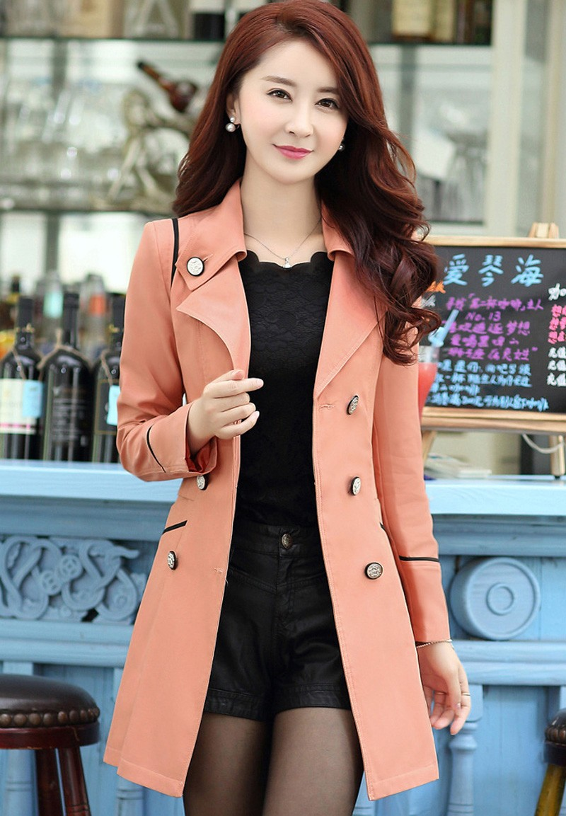 FIONTO Spring Autumn Trench Coat 19 Turn Down Collar Casual Trench Coat Women Solid Long Slim Double Breasted Coats A034-1 4