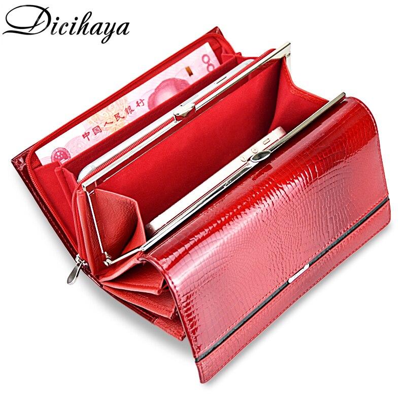 DICIHAYA Genuine Leather Women Wallet Multifunction Womens Clutch Wallets Brand