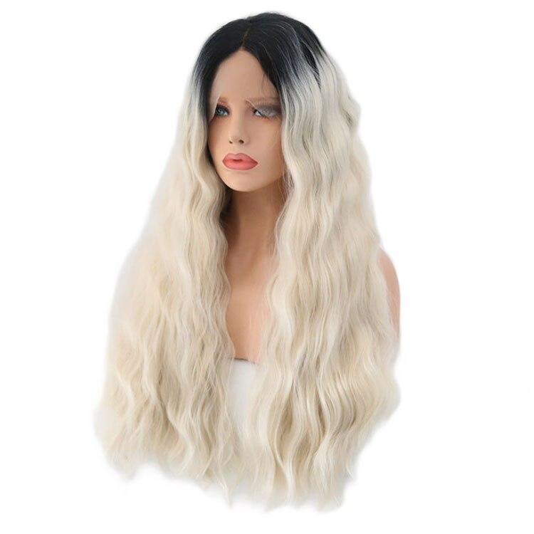 QQXCAIW ручной работы Синтетические волосы на кружеве парик для женский, черный корни Glueless длинные вьющиеся жаропрочных синтетических волос п...