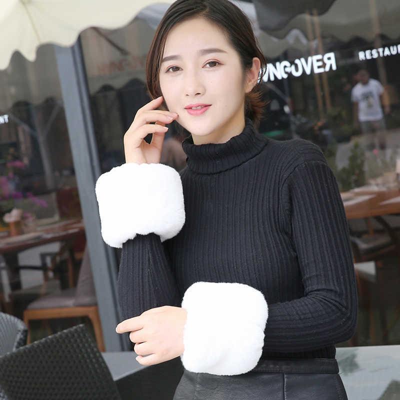 Giá thấp!!! phụ nữ mùa đông Lớn cuff oversleeps vòng tay lông hỗ trợ cổ tay faux oversleeps vòng tay fox fur arm warmer