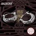 Étnica 100% puro de 925 libras esterlinas jóias de prata oco flor retro brincos para as mulheres bijuterias Aretes frete grátis SY30174