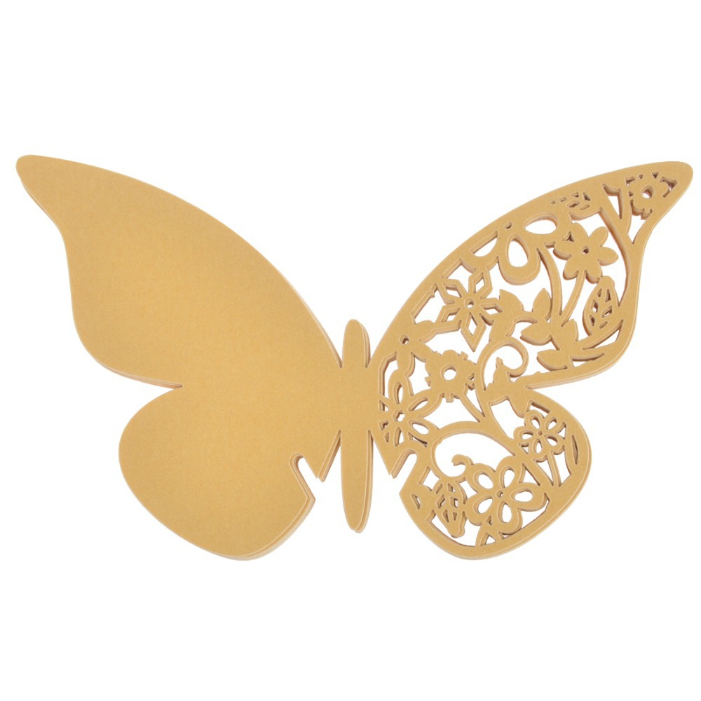 Gold Color Butterfly Wine Glass Table Mark | WedDirect   Discount Wedding  Dresses U0026 Supplies From China