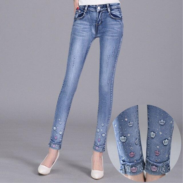 Вышитые алмаз отверстие джинсы карандаш брюки Тонкий тонкий диких стрейч Узкие Джинсы Джинсовые брюки большой размер манжеты Джинсы Женские S2099