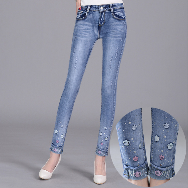 Embroidered diamond hole jeans pencil pants Slim thin wild stretch Skinny Jeans Denim pants large size cuffs Women Jeans S2099